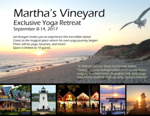 image of the beach on top, with details of the $1500 Martha's Vineyard yoga retreat in Sept. 2017