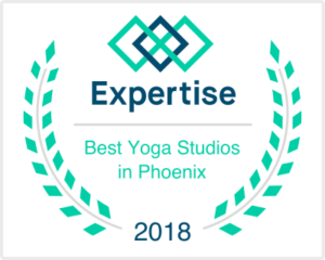 2018 Badge awarded for being one of the best yoga studios in Phoenix.