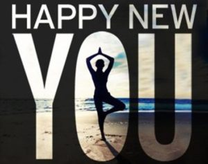 """Silhouetted """"Happy New You"""" with image of someone doing """"tree pose"""" as the middle of the O in YOU."""