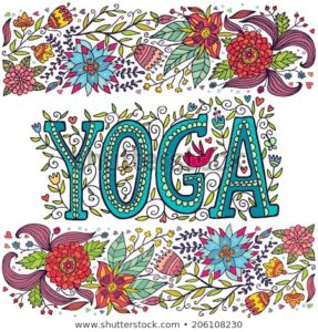 Colorfully lettered word YOGA, with a link to the location of our online videos