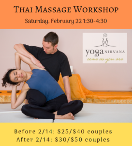 Image from the flier - partner assisting a leaning pose